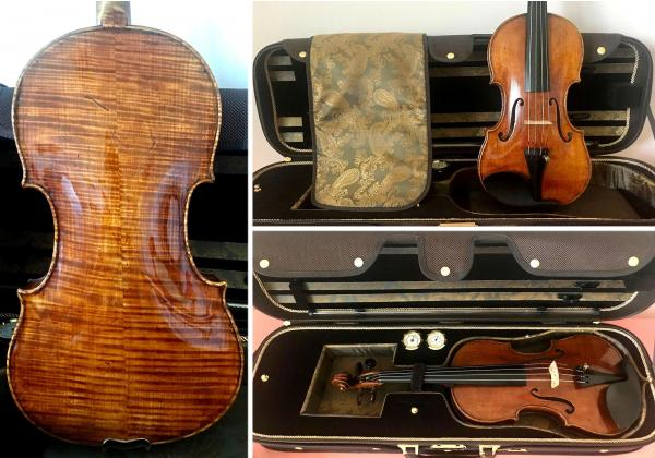 Collage of Topa violin and brown case images