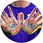 palms of hands with positive words written in various colours