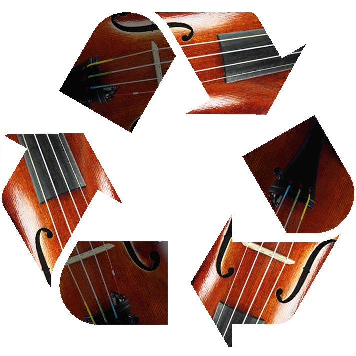 recycle symbol with violins inside