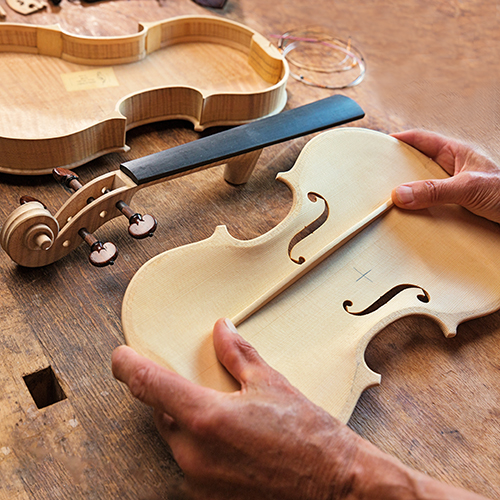 unvarnished violin in process and pieces held by luthier above a wood bench