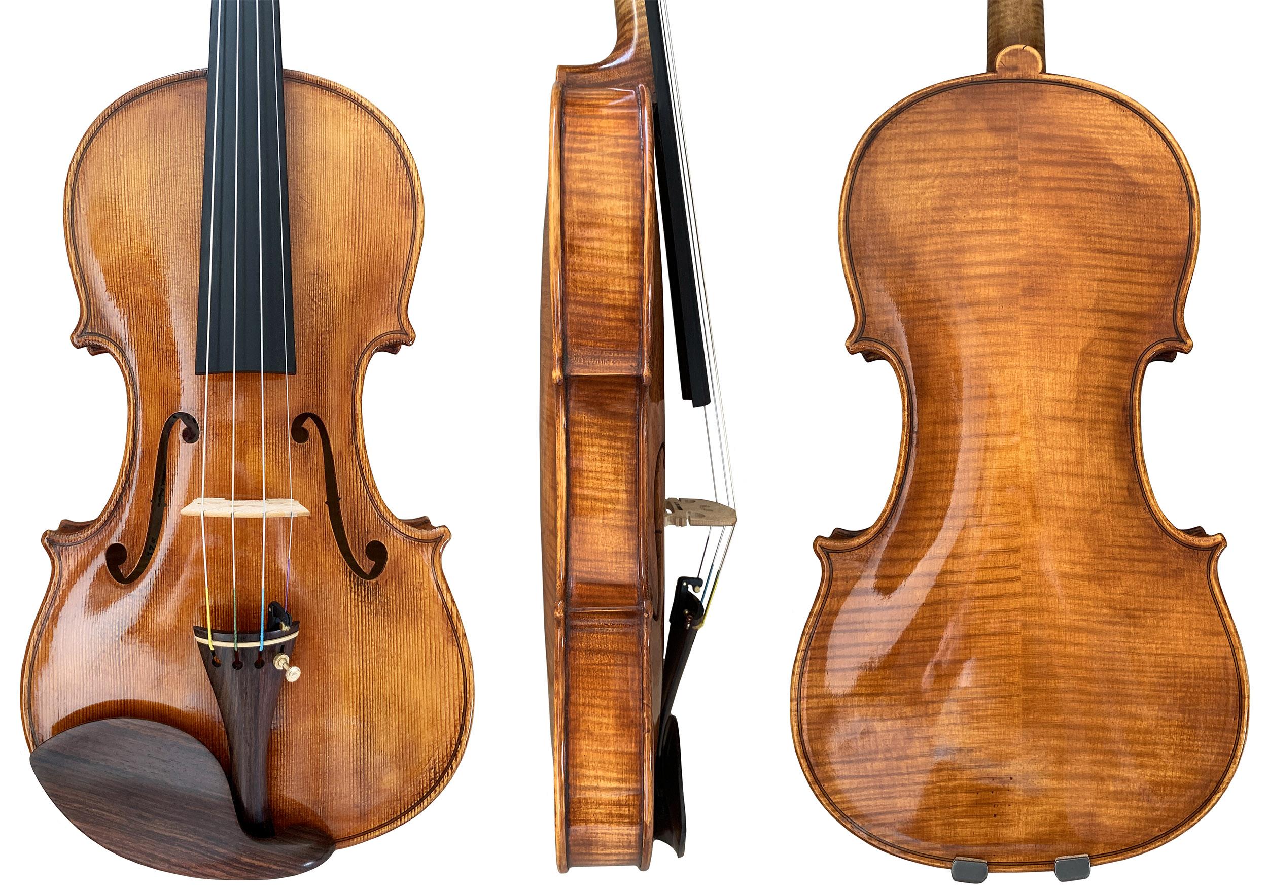 Rose Valley violin front, side and back