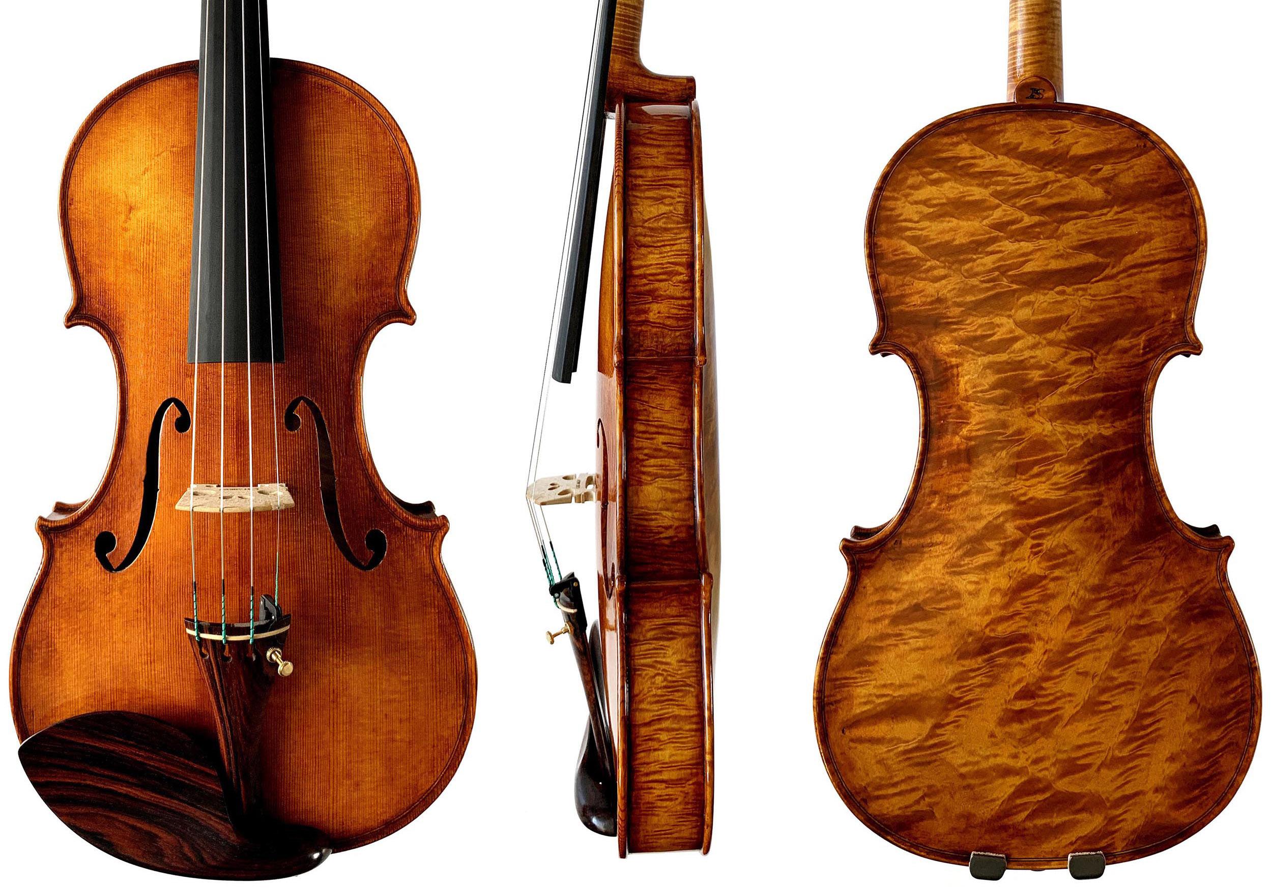 Stankov violin front, side and back