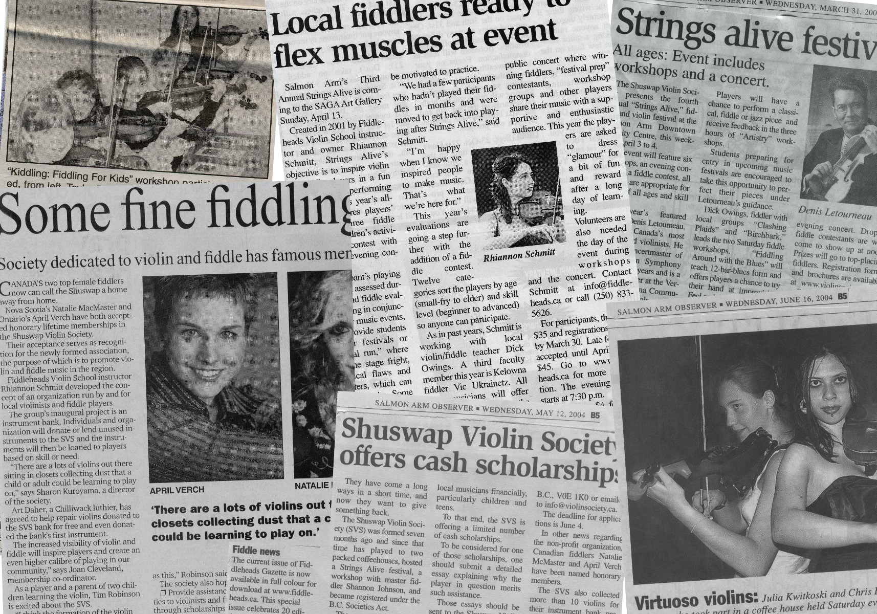 Photo: Just a sample of a few newspaper clippings from Salmon Arm, Kamloops and beyond illustrating the many programs and events offered by the Shuswap Violin Society.