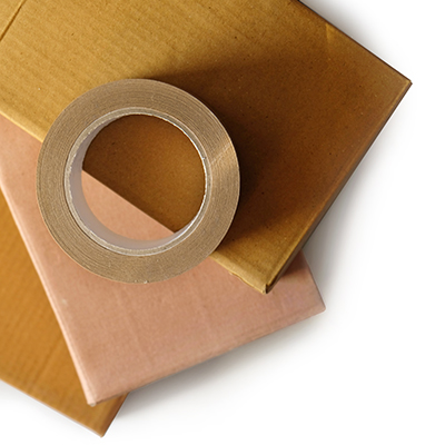 cardboard boxes and paper tape