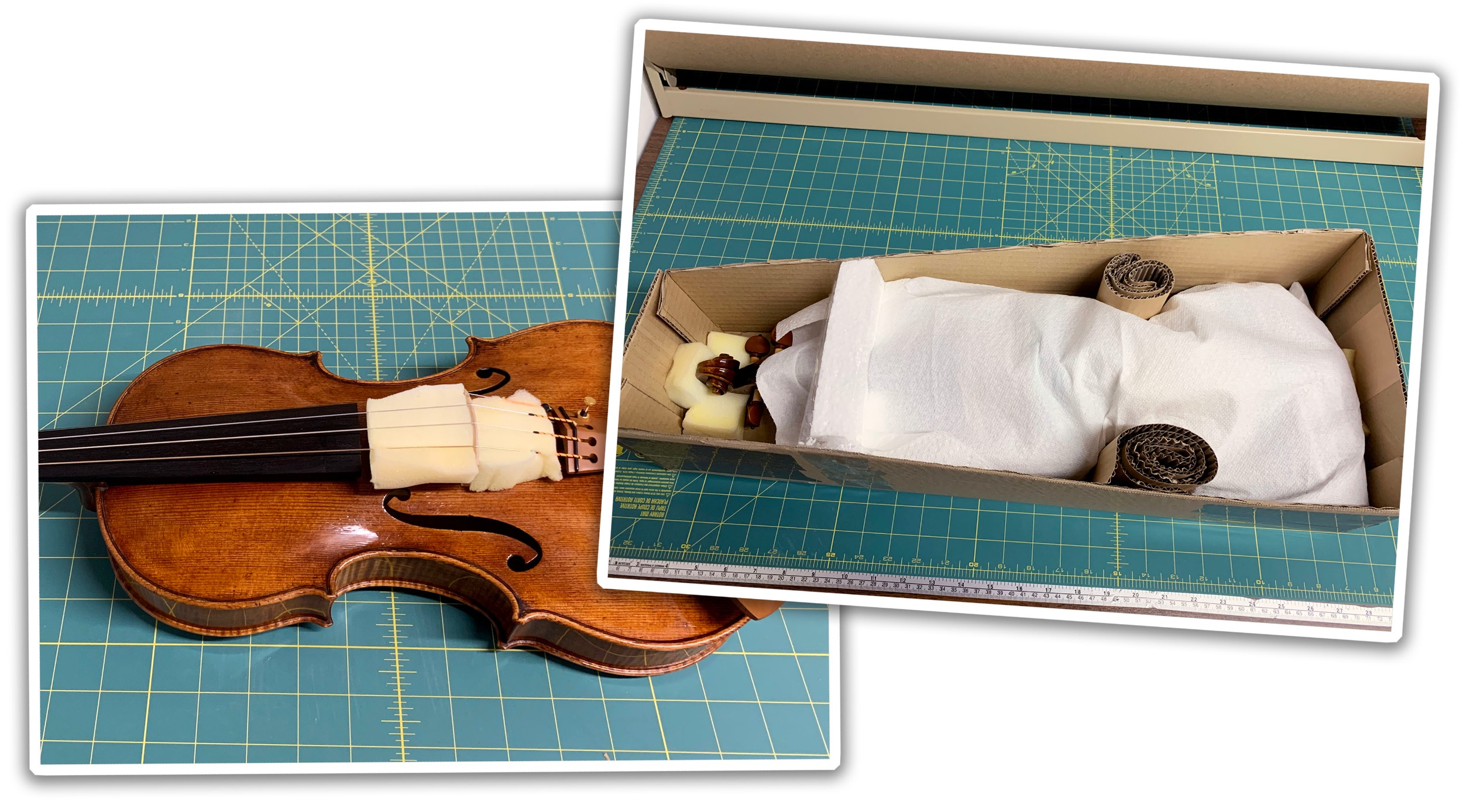 Violin wrapped in paper towel and layers of padding in a box
