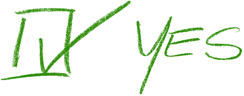 Green box with check mark and