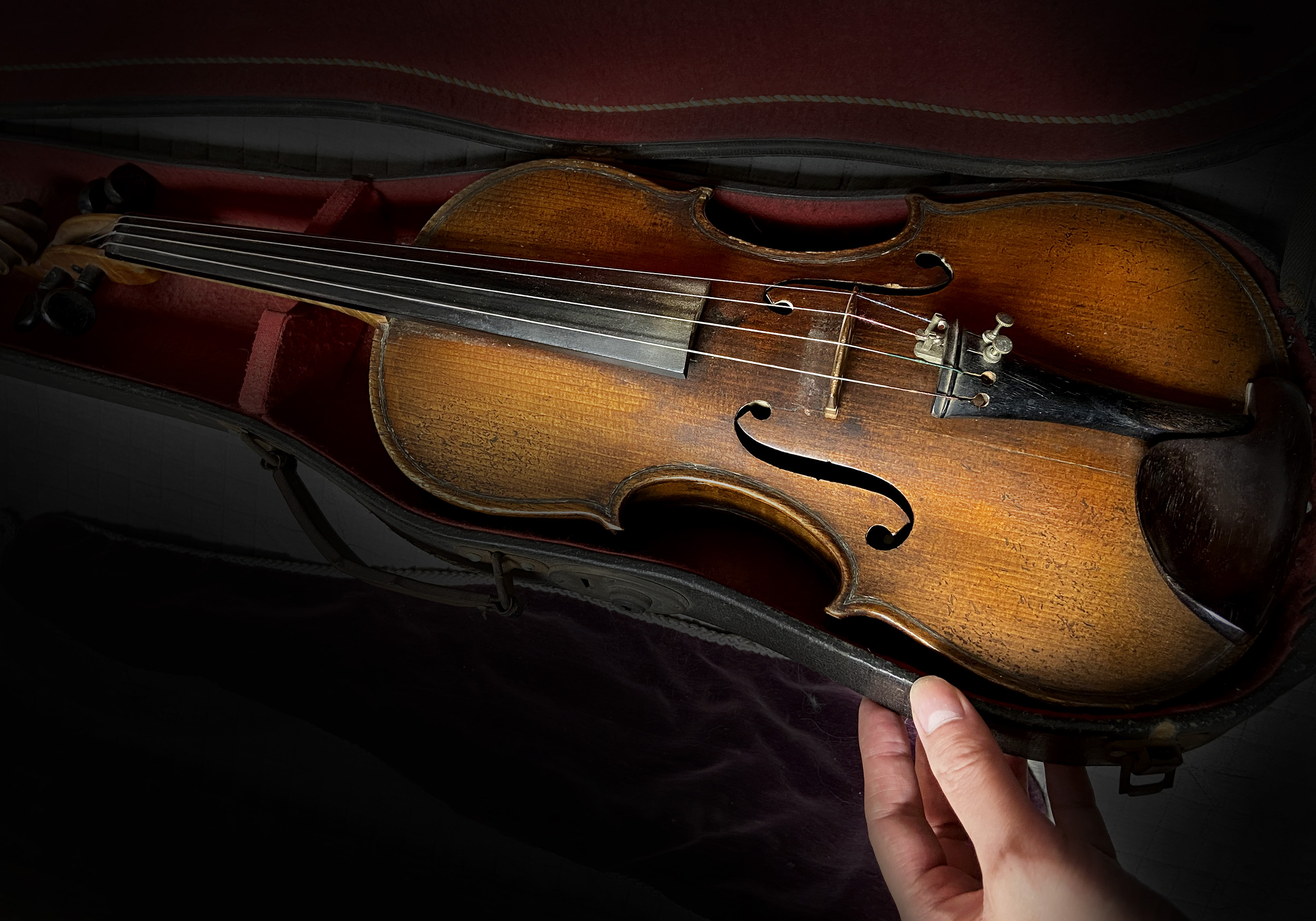 shadows with fake strad violin in case and hand holding it up