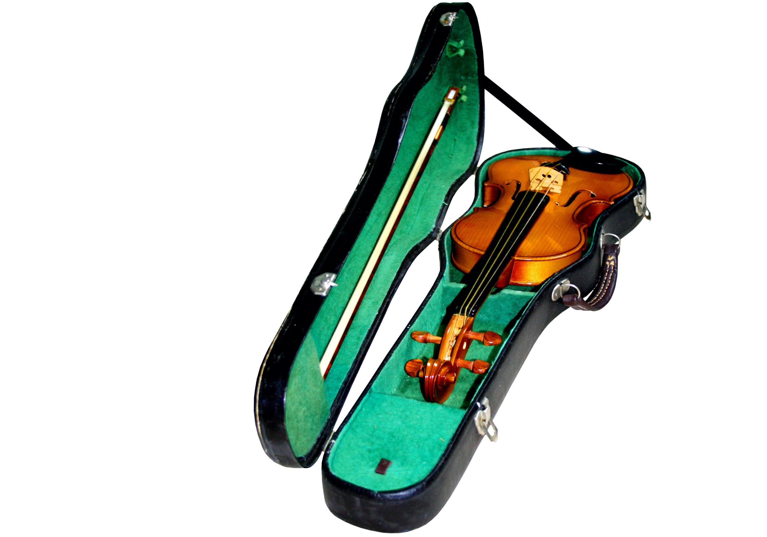 cheap, ugly violin in a case