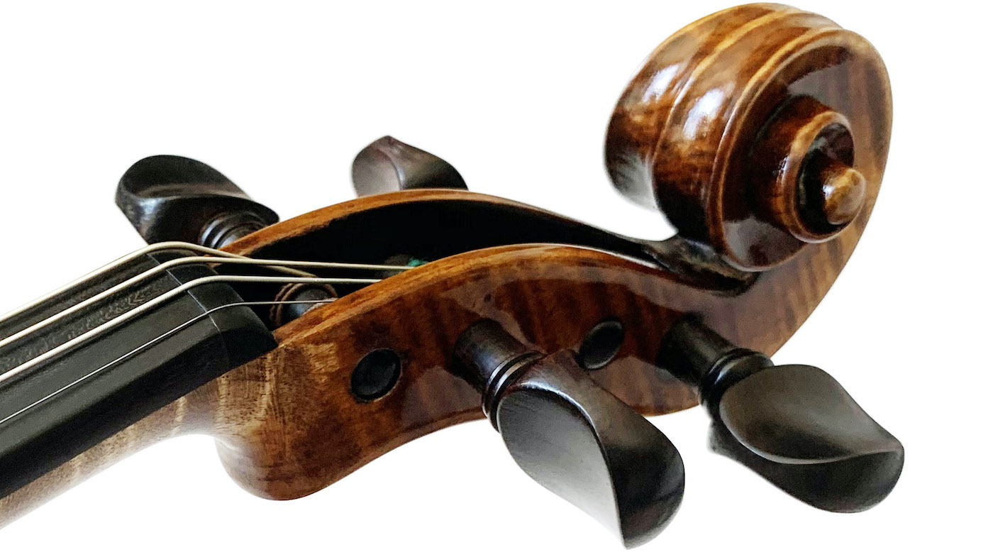 violin scroll and pegs up close