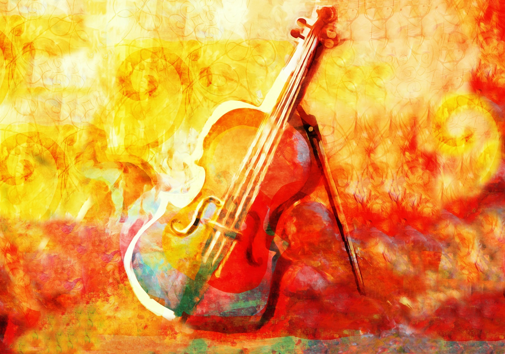 Abstract violin painting with vibrant colours