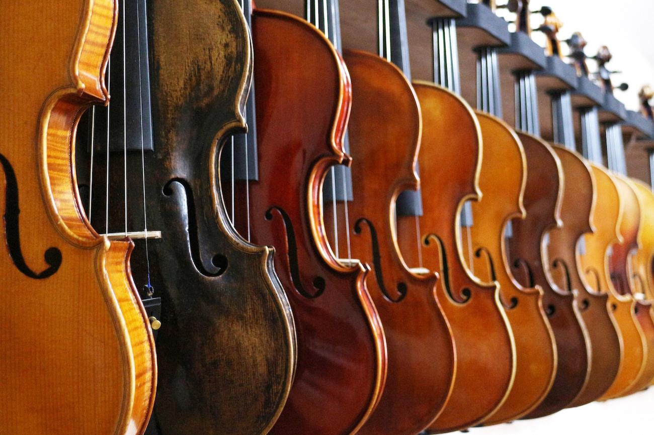 rack of various coloured violins hanging